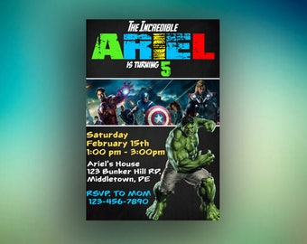 Hulk Invitation, Hulk Birthday Invitation, Hulk Party Invitations, Hulk Birthday Card, Hulk Birthday Party , Superhero Invitation, Superhero
