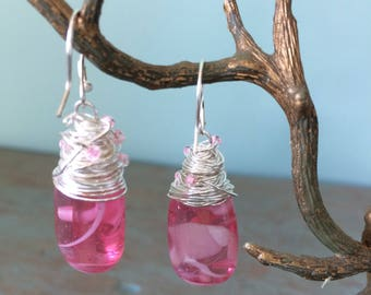 Wire wrapped pink earrings