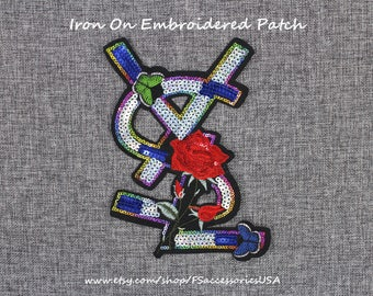 Emblem Patch Sequin Iron On Patch 5.5'' x 7.8'' Flower Patch Flora Embroidered Patch Special Design Custom Made    #A14