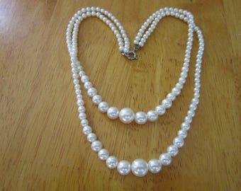 Vintage Elegant Faux Pearl Double Strand Necklace
