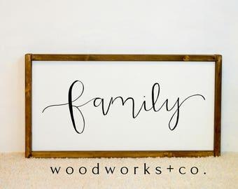 Family Wood Framed Canvas