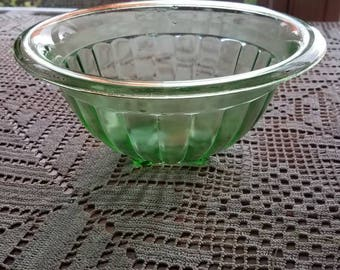Vintage Green Depression Glass Bowl