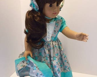 1800's Teal Dress, Hat, and Bloomers