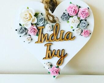 Love heart name bunting // heart bunting // christening gift // new baby gift // nursery decor // flower letter // flowers // bunting