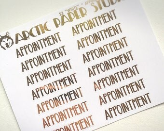 Appointment CAPS SCRIPTS - FOILED Sampler Event Icons Planner Stickers