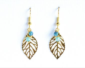Clearance * gold earrings - leaves - beads