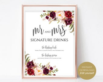 Signature Drinks Printable Signature Drinks Sign Signature Cocktails Bar Sign Instant Download Editable PDF 4x6, 5x7, 8x10 Boho Chic DIY