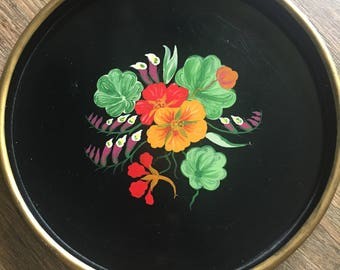 Hand painted/Floral/Wooden Tray
