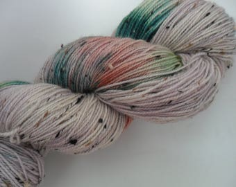 """100gms Handpainted 4ply Merino/Donegal Nep Yarn """"Bows Beads Birds"""""""
