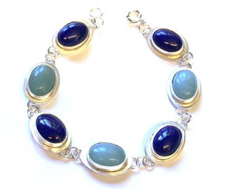 Lapis Lazuli and Amazonite Stone Set Bracelet