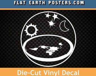 The Earth is Flat die cut vinyl Flat Earth Sticker (white)