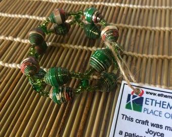 Green Ladder Paper Bead Bracelet