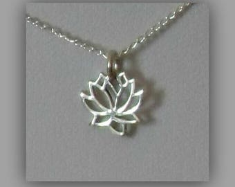 Silver Lotus Flower Necklace,Lotus Flower Necklace,Tiny Sterling Silver Lotus Flower Necklace,Flower Necklace,Silver Flower Necklace Pendant