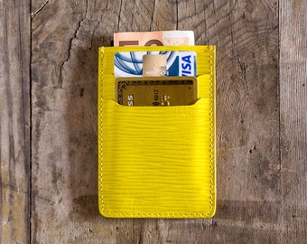 Yellow leather wallet leather, credit card holder, business card holder, slim wallet, travel wallet, cardholder in leather, minimal wallet