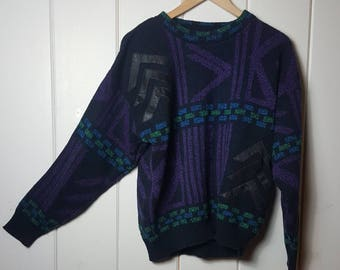 Vtg Gabrielle Geometric Design Leather Trim Sweater Black Blue Green Purple Size Large 90s 80s
