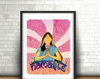 Namaste Girl Print,yoga poster,yoga wall poster,yoga poster print,namaste printable,namaste home,namaste yoga,Zen wall poster,art print