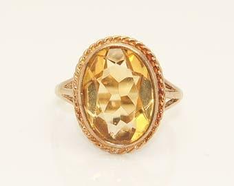Stunning 1987 Vintage 9Ct Gold 5 Ct Citrine Dress Ring, Size M 1/2