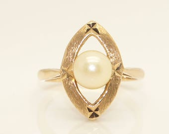 Vintage 1967 9Ct Yellow Gold 6.3mm Solitaire Cultured Pearl Ring, Size J