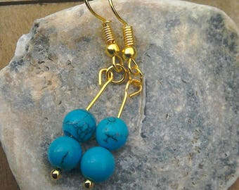 Turquoise magnesite bead gold plated earrings