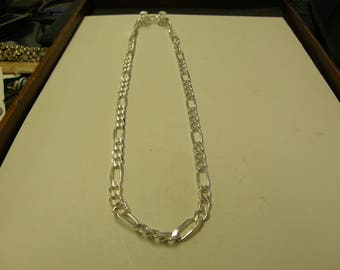Italy Sterling Silver Figaro Chain Necklace - 20 Inch - Heavy