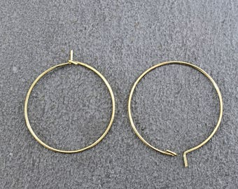 Earring hoop, EH-01G, 10pcs, 30x0.8mm, 16K gold plated brass, Nickel free plating (Palladium), High quality gold plating