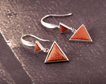 Awesome 35 % OFF Sale 92.5 Sterling Silver Earrings Triangle Shape  With Beautiful Look Light Weight 3.06 Gms. Length 3.30 CM.. MGJ 117
