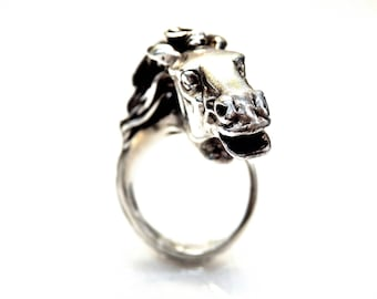 Sterling Silver Hourse Face Wrap Ring