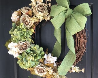 Country Roses & Hydrangeas Wreath - Rustic Wreath - Spring Wreath - Summer Wreath - Farmhouse Wreath - Fall Wreath - Hydrangea Wreath