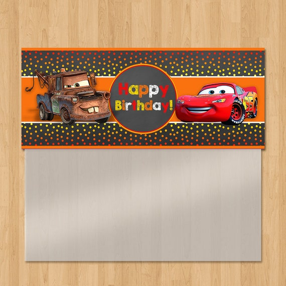 Disney Cars Birthday Candy Bag Topper - Chalkboard Orange Red - Lightning Mcqueen Cars Birthday Party Favor - Disney Cars Ziptop Favor Bag