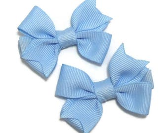 Blue Hair Bows // Hair Bow Set for Girls // Toddler Hair Bows // Blue Hair Clips for Girls // Solid Color Hair Bows // Classic Hair Bow