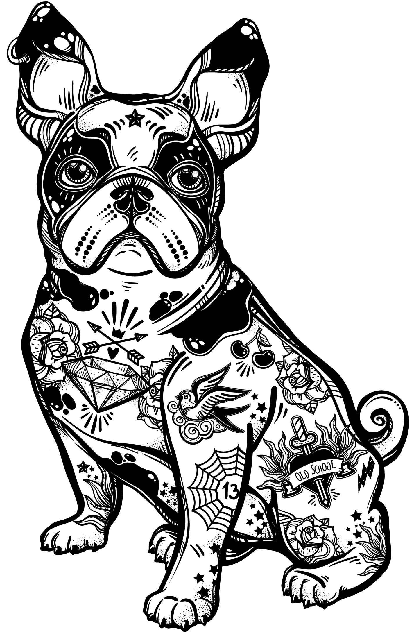 Boston Terrier, Flash Tattoo Art, Boston Terrier Art, Tattoo Art, Hipster,