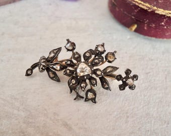 Antique Victorian Rose Cut Diamond Flower Gold and Silver Brooch Pin Pendant