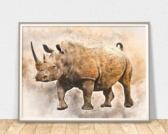 Rhino Wall Art - Printable Animal, Rhinoceros, Modern Wall Art, Rhino Poster, Safari Art, Rhino Decor, African Art, Rhino Print, Home Decor