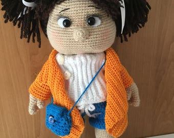 Crochet amigurumi, plushie, girl doll, decorated house