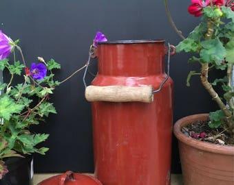 Vintage Milk Churn, Maroon/reddy brown, with lid and wooden handle