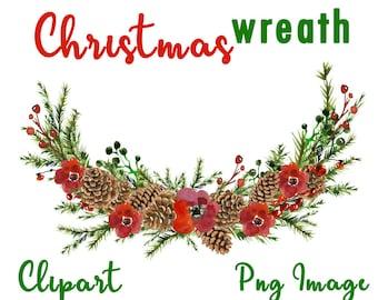 Christmas wreath clipart, Christmas wreath digital, Christmas clipart, Christmas digital, Christmas bouquet clipart, Christmas wreath