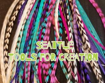 "10 XL Unicorn Frapp Mix Salon Grade Feather Hair Extensions 6 - 13""+ Extras"
