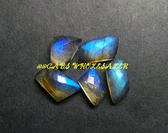 5 Pcs - Natural Labradorite One Side Checker Cut Fancy Cabochon - 8-13 MM - Labradorite Cabochons - High Quality - Wholesalegems