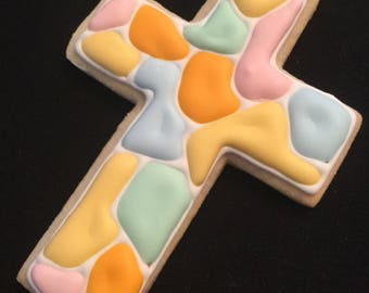 Stained glass cross in pastel colors   Baptism cookie favors   Baby girl Christening   Baby boy christening