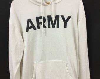 ARMY Hoodies Long Sleeve Medium Size With Big Spell Out Logo And Big Camouflage Number At Back