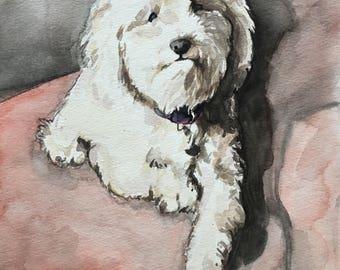 Custom Dog Illustration-Dog Painting-Birthday Gift-Wedding Gift-Pet Portrait-Old English Bulldog