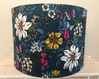 Teal Floral Drum lampshade with butterflies