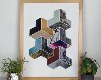 3D Geometric Collage Print