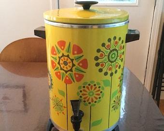 West Bend Flower Power Vintage Mid Century MCM Percolator Coffee Maker WORKS!