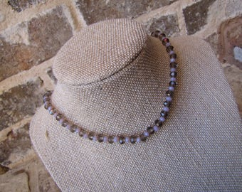 brown and pink beaded choker