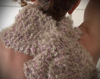 Pinky Squish Scarf, Hand knitted, Hand Spun and Dyed Merino and Mohair Wool