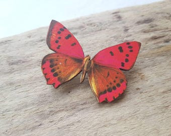 Butterfly pin brooch. Vintage butterfly badge. Butterfly pin. Butterfly moth jewellery. Moth butterfly accessory red butterfly jewellery