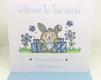 Personalised Handmade New Baby Boy Welcome To The World Card