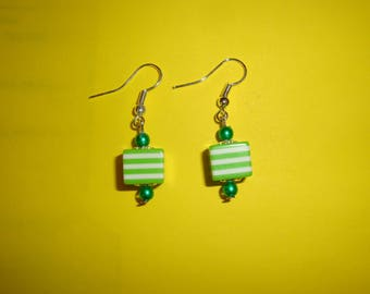 small green cube post earring