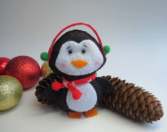 Christmas Pinguin Ornament, Christmas Tree Ornament, Christmas Decoration, Felt Ornament
